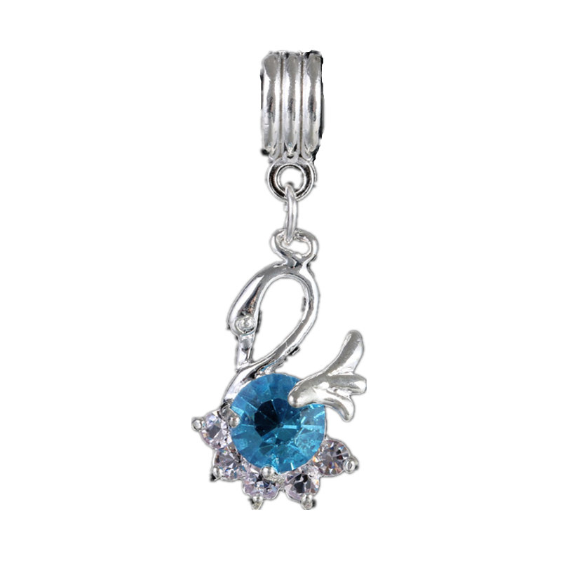 Ngo classic charm DiY crystal pendant small silver jewelry accessories for Pandora bracelet Necklace(China (Mainland))
