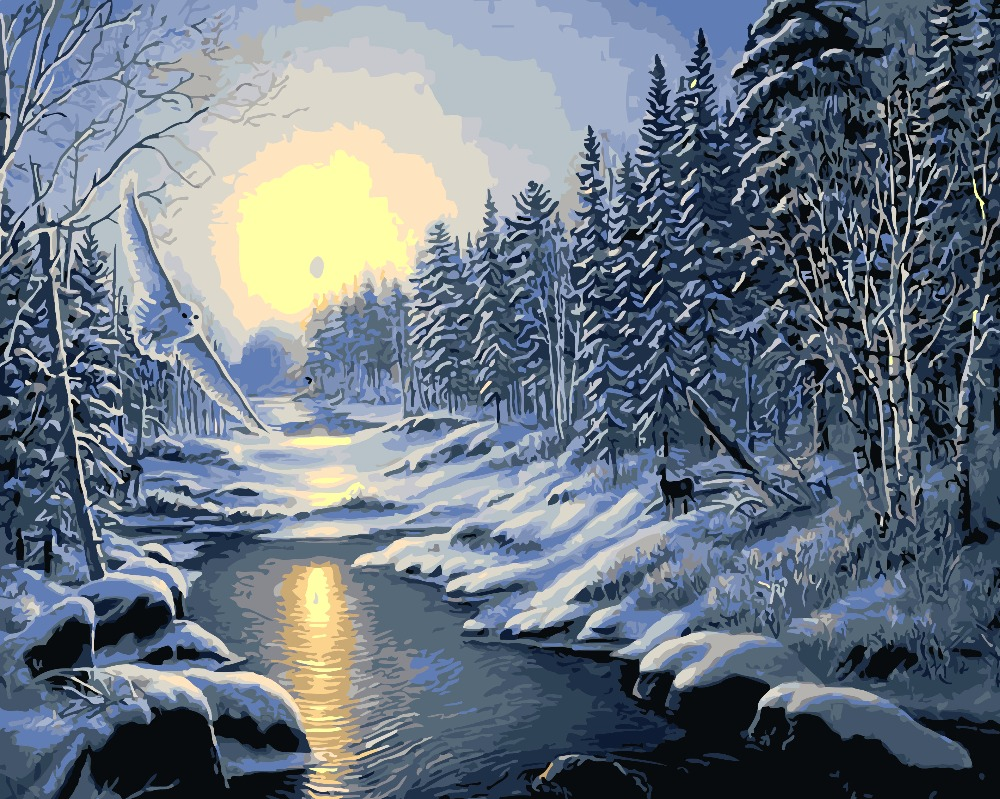 The winter snow---2016 Hot Sale DIY digital oil painting by numbers frameless free shipping home decoration  40cm x 50cm