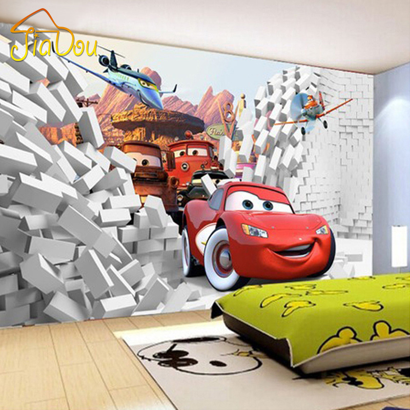 Custom Mural 3D Cartoon Car Large Mural Children's Room Bedroom Living Room TV Background Wall Paintings Sofa Backdrop Wallpaper(China (Mainland))