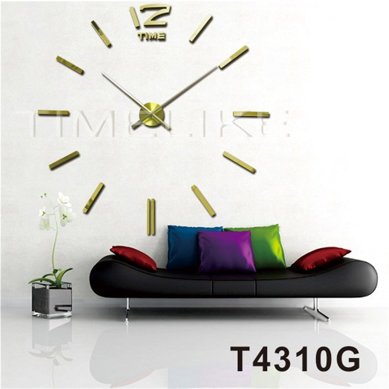golden luxury wall clock 3d diy home decor mirror wall sticker clock horloge murale free. Black Bedroom Furniture Sets. Home Design Ideas