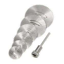 7PCS HSS Rotary Tool 22 /25 /32 /35 /44 /50mm Circular Saw Blades Cutting Discs Mandrel for Dremel Cut off