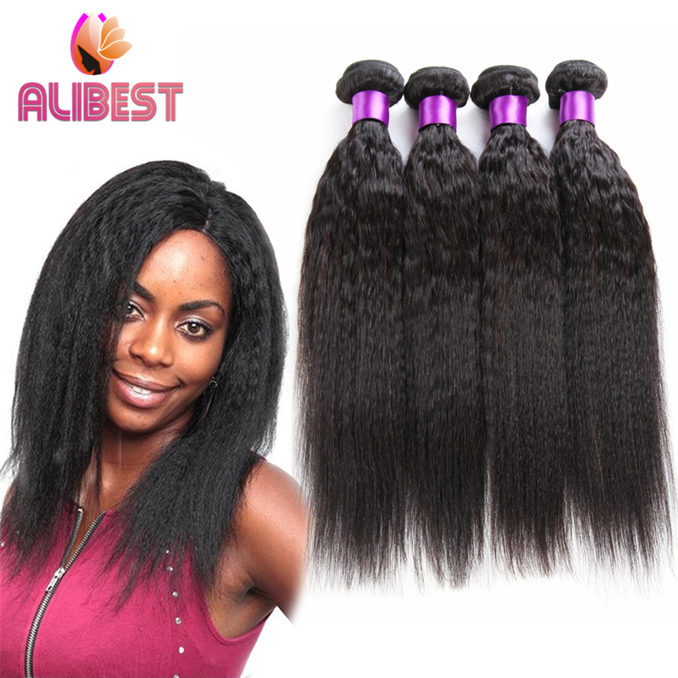 mongolian virgin hairkinky straight hair 100% unprocessed  hair extentionQueen hair products 6A coarse yaki hair 2lot human hair<br><br>Aliexpress