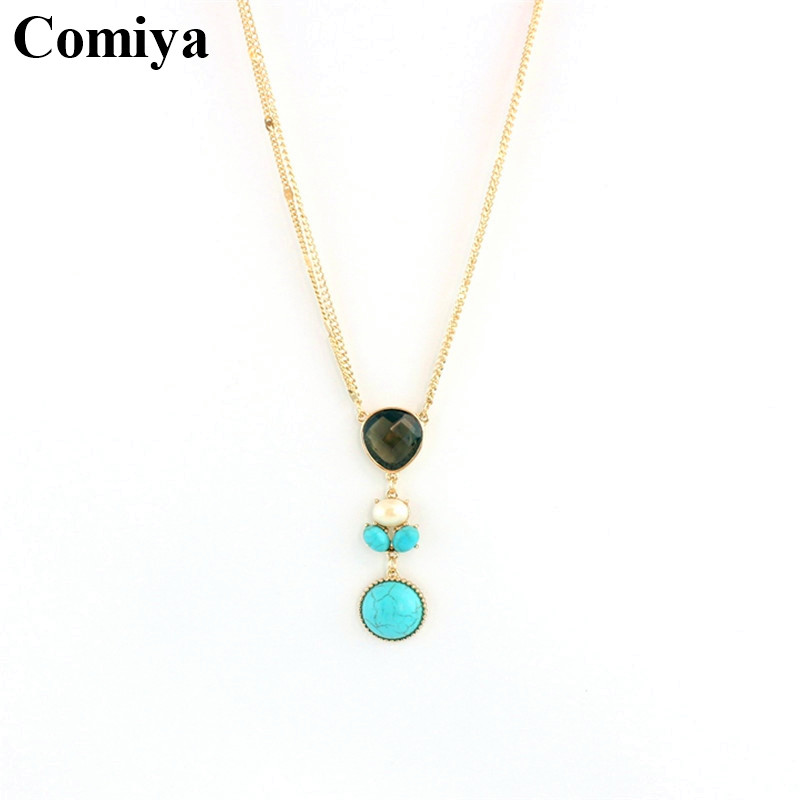 Gift unbelievable price turquoise multi color imitation gemstone good luck America ofertas pendant necklaces beauty jewellery(China (Mainland))