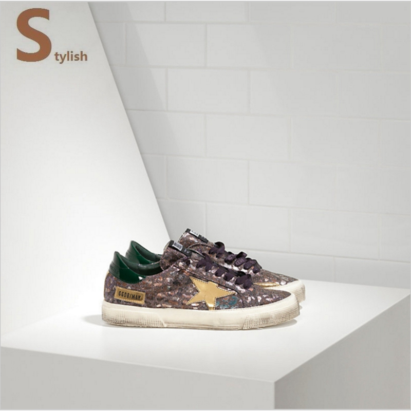 Free shipping Golden Goose Children/Uomo/Donna MAY casual in bonded fabric with leather star LEOPARD GREEN<br><br>Aliexpress