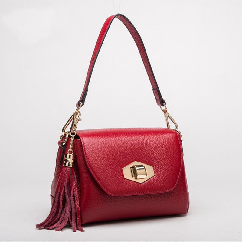2016 New Brand Soft Genuine Leather Women Messenger Bags Ladies Bolsa Feminina Tassel Shoulder Bag For Women Handbag<br><br>Aliexpress