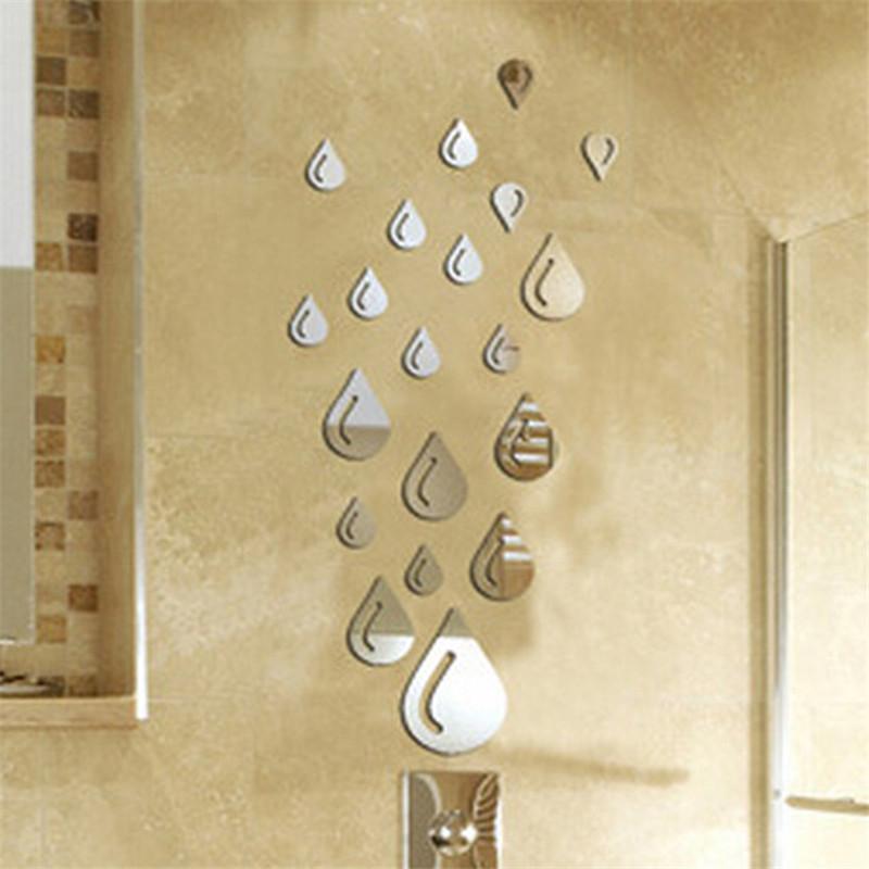 2016 Hot Sale Mirror Style Silver Color Raindrop Acrylic Wall Stickers Bathroom 3D DIY Home Decor(China (Mainland))