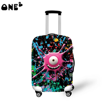 2016 ONE2 Design big eye monster pattern printing wholesale fashion cover apply to 22,24,26 inch suitcase elastic travel luggage