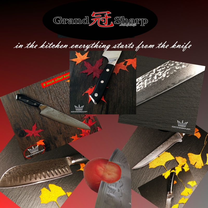 Buy GRANDSHARP 7 Inch Santoku Knife 67 Layers Japanese Damascus Stainless Steel VG-10 Core Chef Knife Cooking Tool NEW FREE SHIPPING cheap