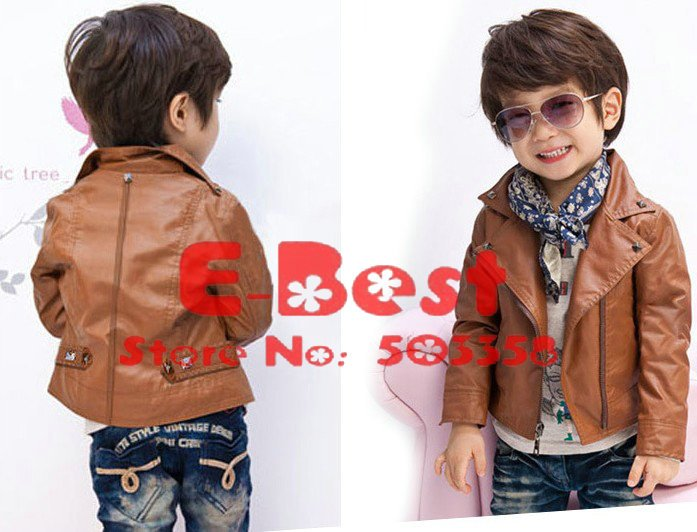 Kids Brown Leather Jackets - Jacket