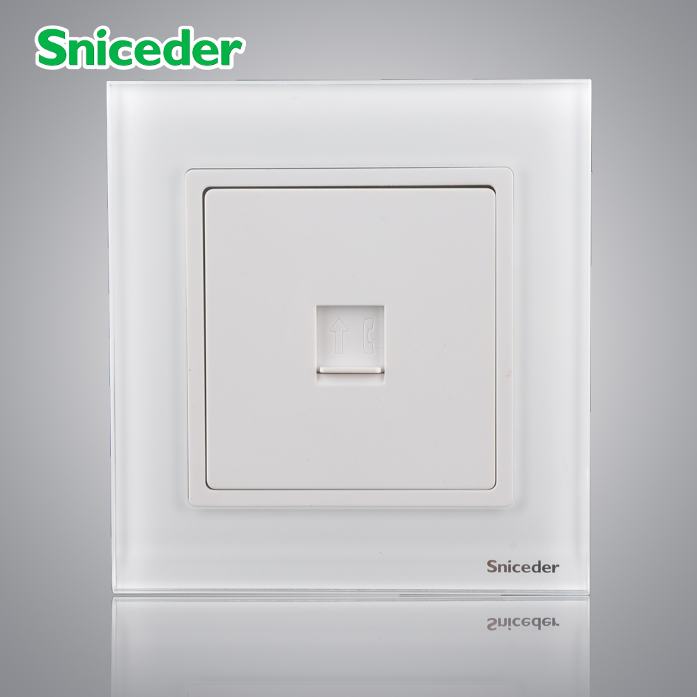 Scinder glass panel elegant white four-core telephone a telephone socket TEL socket outlet<br><br>Aliexpress