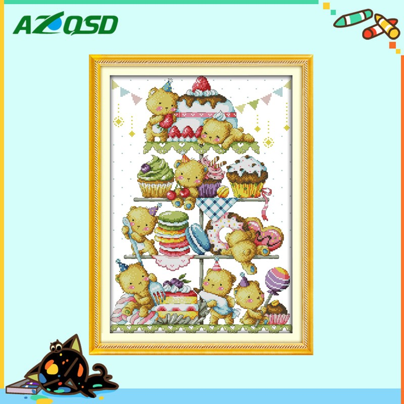 Sweet little bear and cake DMC 11CT 14CT Cross Stitch counted print on canvas kits embroidery needlework Sets k509(China (Mainland))