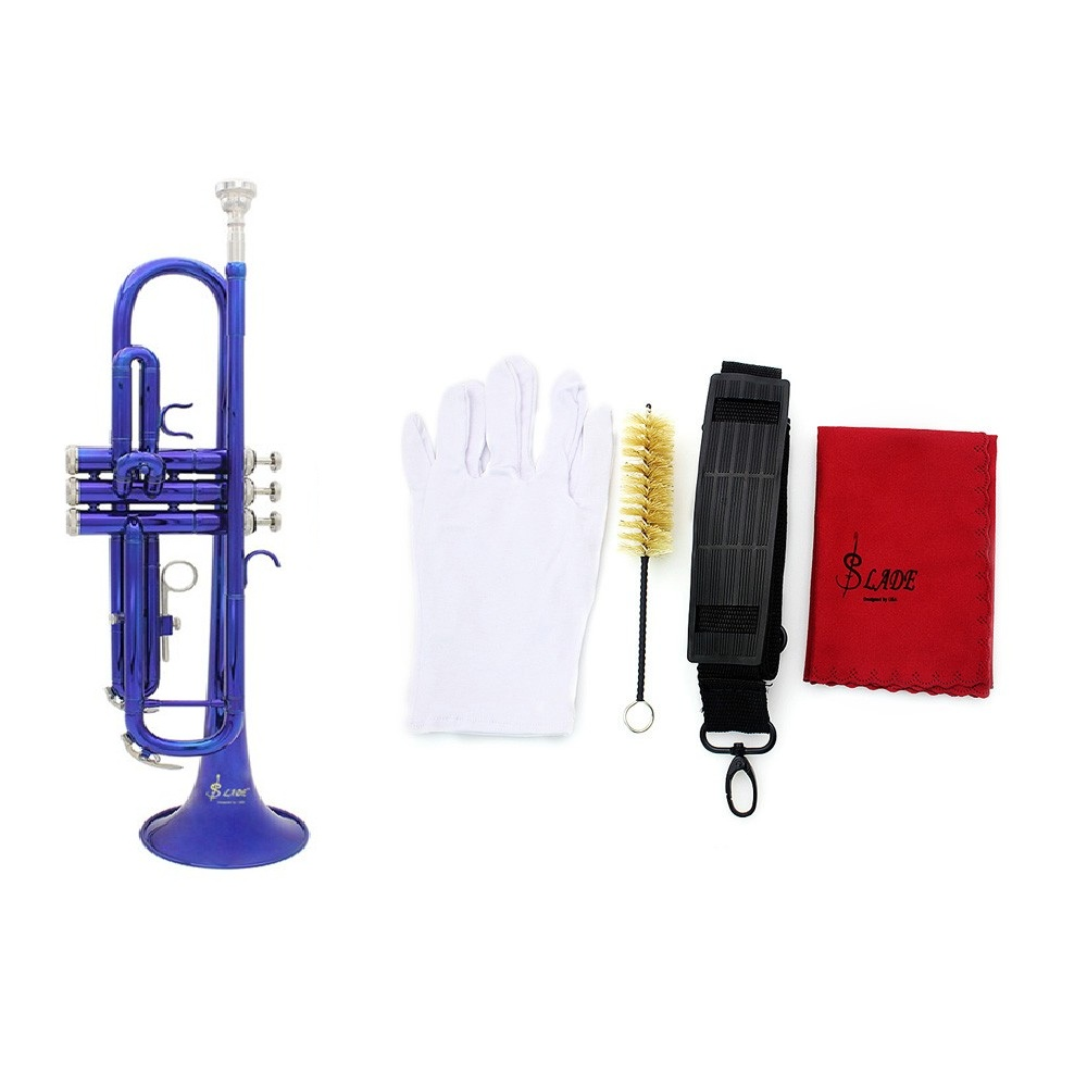 Blue Trumpet Bb B Flat Brass Phosphor Copper Exquisite with Mouthpiece Cleaning Brush Glove Strap(China (Mainland))