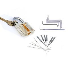 Locksmith Tools Kit 3 In 1 Set Transparent Lock ,5pcs Locksmith Wrench Tools,10pcs Locksmith Broken Key Extractor Tools