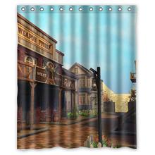 Custom elegant building city&Beautiful Scenery&motol hotel 66 inch x 72 Waterproof Polyester Fabric Shower Curtain - Houseware Depot store