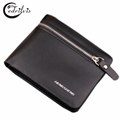 Business Zipper Men Wallet W121 Pu Leather Male Purse Black and Coffee Short Card Holder Dollar