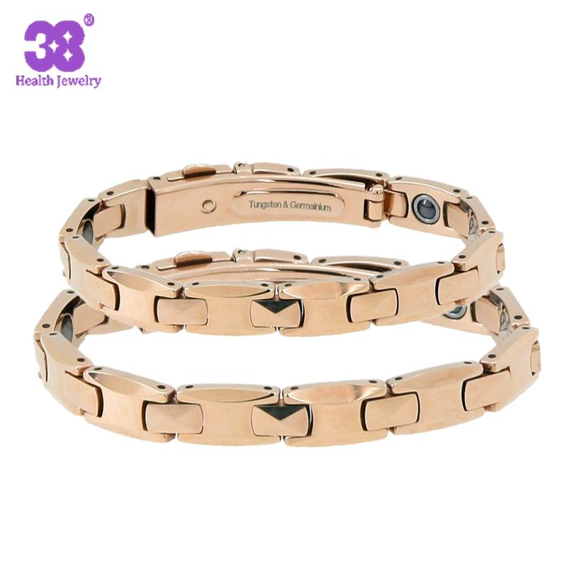 2016 New High Polish Pure Germanium Rose Gold Tungsten Bracelets Couple Lovers Gift Energy Balance Italian Bracelet & Bangles(China (Mainland))
