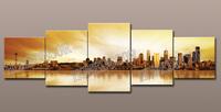 5pcs современный город холст полиэстер печатает иллюстрации изображение печать на холсте, живопись Главная спальня украшение гостиной
