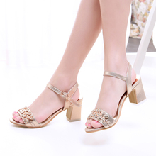 Buy 2016 summer sweet Women Shoes buckle strap Square heel Solid color med heel Metal decoration Open-toed sandals size 31-43 T816 ) for $26.01 in AliExpress store