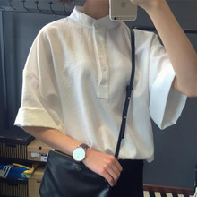 New Korean Summer Silm Loose Student Retro Solid White Simple Female Shirt With Short-sleeved (China (Mainland))