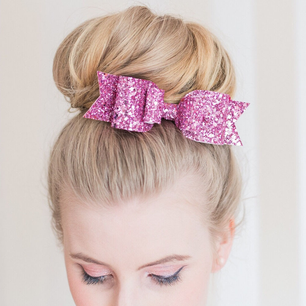 "28 Pcs/lot 4.5"" New Fashion Handmade Bling Glitter Hair Bows For Girls Boutique Layers Bow With Clip Hair Accessories(China (Mainland))"
