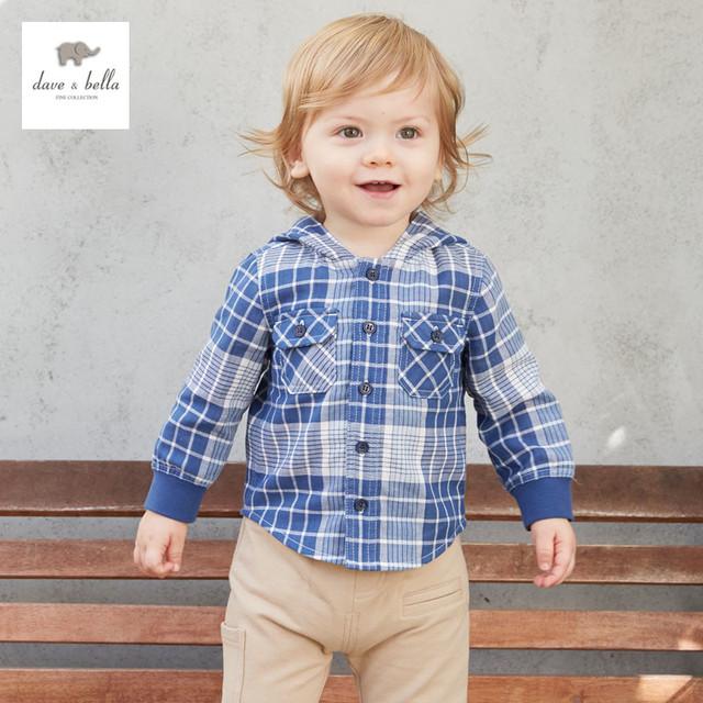 DB3289 дэйв белла весна осень детские пальто с капюшоном детская одежда пальто младенца бабий мальчик плед толстовки детская одежда