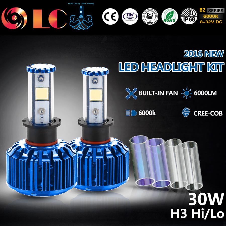 2016 NEW H3 60W 3000LM CREE-COB Chip LED Headlight Fog Light Conversion KIT 2 Colors DIY Automobiles Headlamp(China (Mainland))