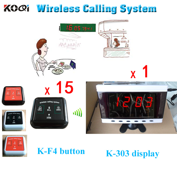 Wireless Restaurant Paging System Show 4-digit Number Display K-303+4keys K-F4 Transmitter Bell(China (Mainland))