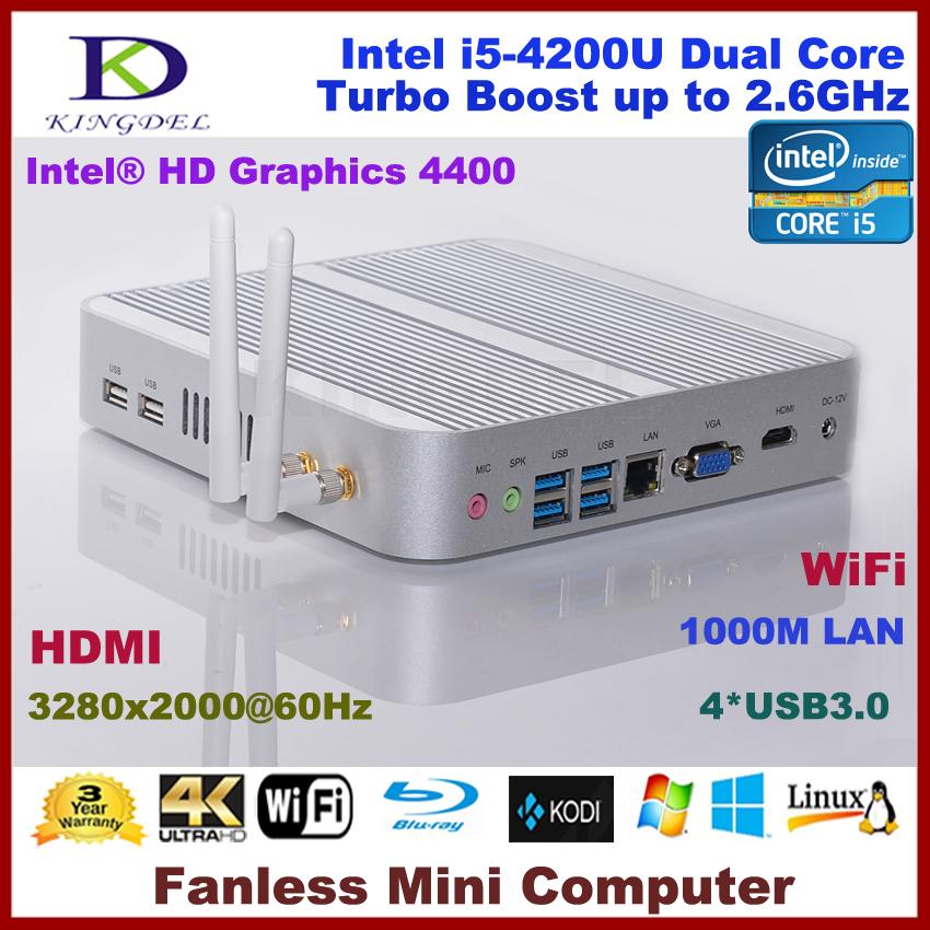 Kingdel 3-year Warranty PC 16GB RAM SSD+HDD i5 4200U Fanless PC Windows 10 Mini Computer HDMI VGA 4k HTPC Media Server(Hong Kong)