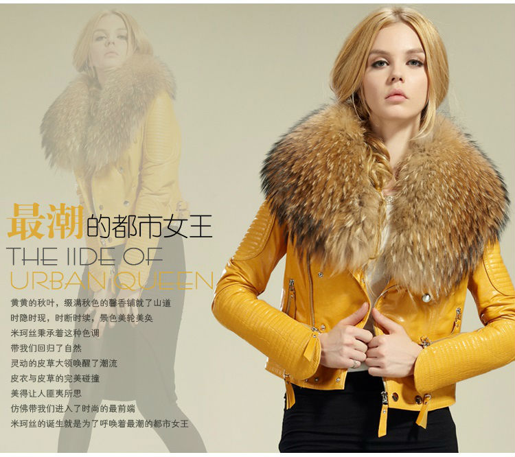 2015 Женщины's geniune sheep leather jacket real sheep leather jacket with Мех ...