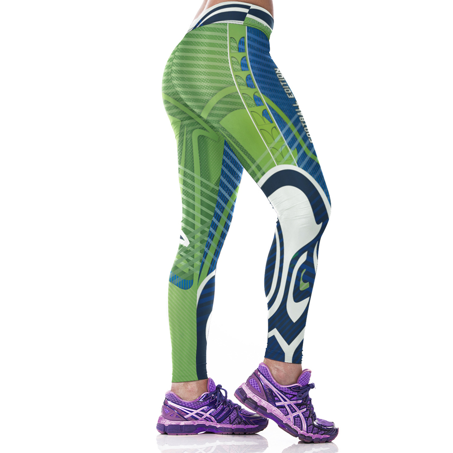 Woman Yoga Pants Fitness Fiber Sport Leggings Seattle Seahawks Sports Tights Trousers Exercise Training Gym Clothing Sportswear(China (Mainland))