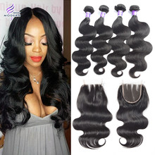 Peruvian Virgin Hair with Closure Body Wave Lace Closure with Hair Bundles Rosa hair products with Closure Peruvian Virgin Hair(China (Mainland))