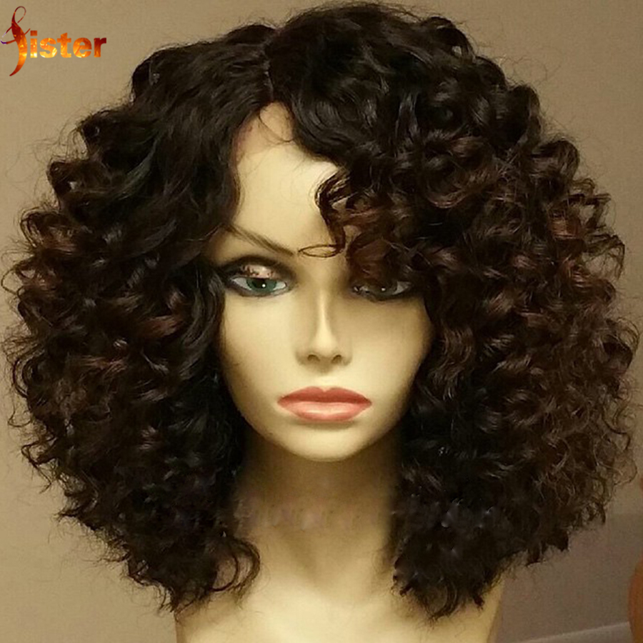 7A Brazilian Human Hair Curly Wigs For Black Women Cheap Human Lace Wigs Glueless Full Lace/Lace Front Wig Natural Black Color(China (Mainland))