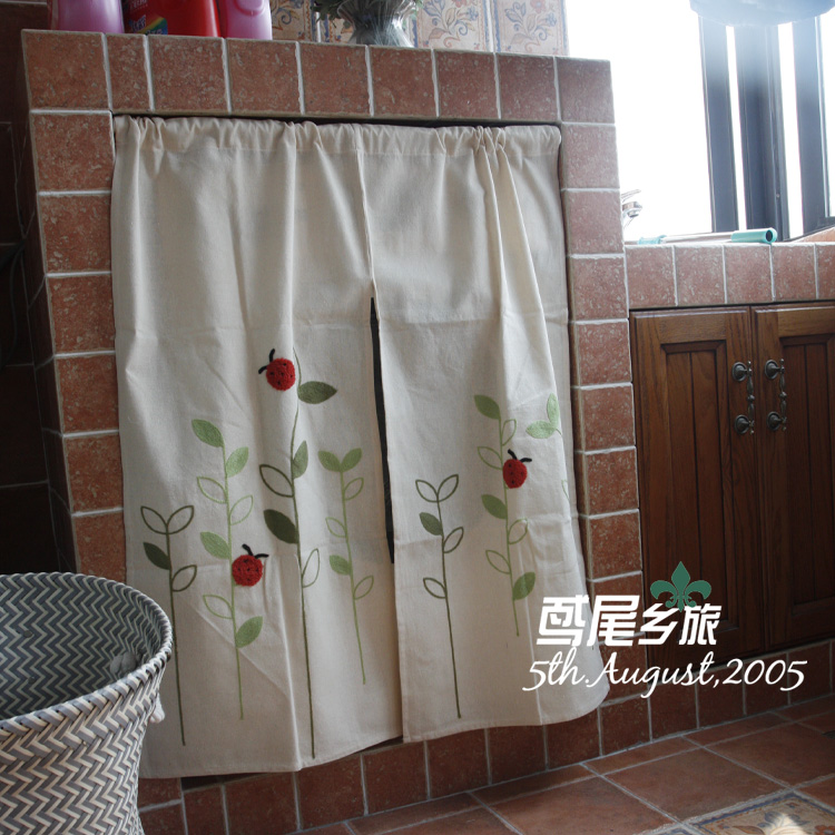 Floral Linen Short curtains Cabinet Window Screening Curtain Divided Partial Curtains Home decoration(China (Mainland))