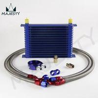 AN10 15 строк универсальный двигатель трансмиссия масло кулер синий + адаптер фильтра синий кит