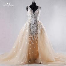New Design Lace Ball Gown Wedding Dress 2016detachable Romatic Sexy Illusion Bridal Dresses Vestido de Casamento Custom Made(China (Mainland))