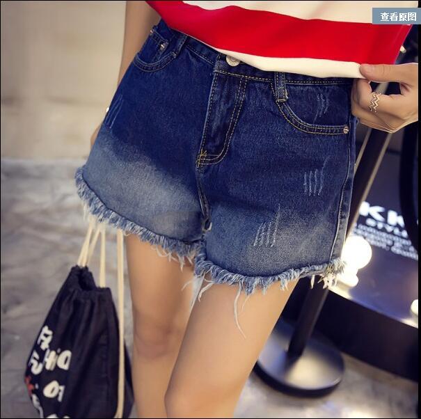 2016 spring new high waist skinny jeans zipper flash gradient denim shorts female tide(China (Mainland))