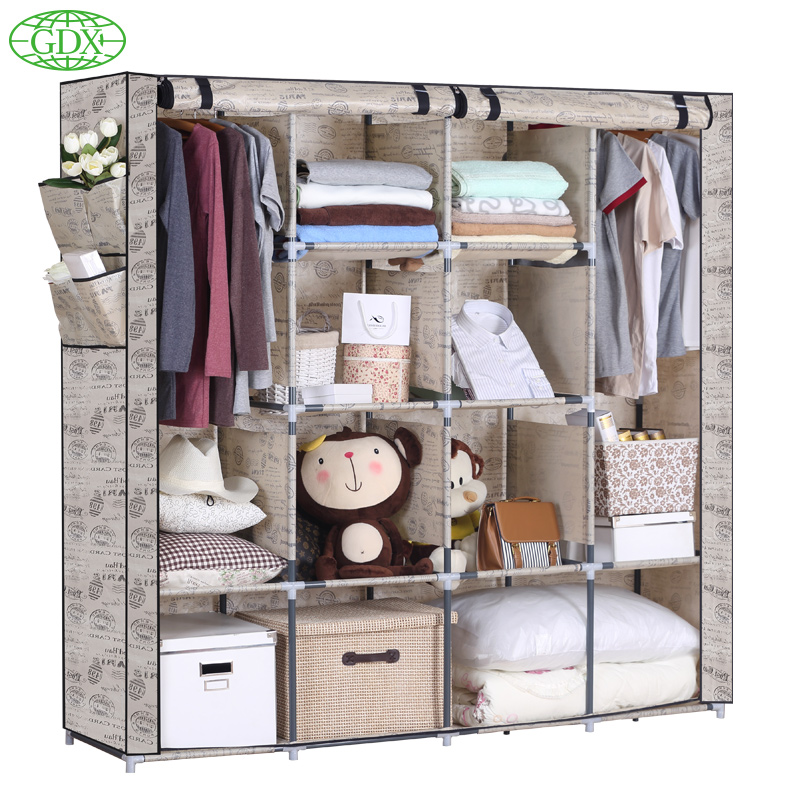 GDX Garderobe Non-Woven Cloth Wardrobe Free Combination Folding Frame Bedroom Furniture Adjustable Cabinet Storage(China (Mainland))