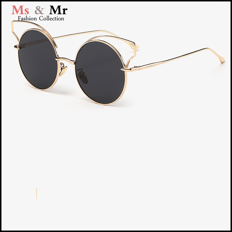 2016 Hot Sale Metal frame Round Ladies Cat Eye Sunglasses Women Famous Brand Designer women Sunglasses Coating Mirror Glasses(China (Mainland))