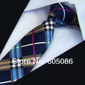 fashion Slim Ties Skinny Tie check Men's necktie narrow Polyester plaid neckties