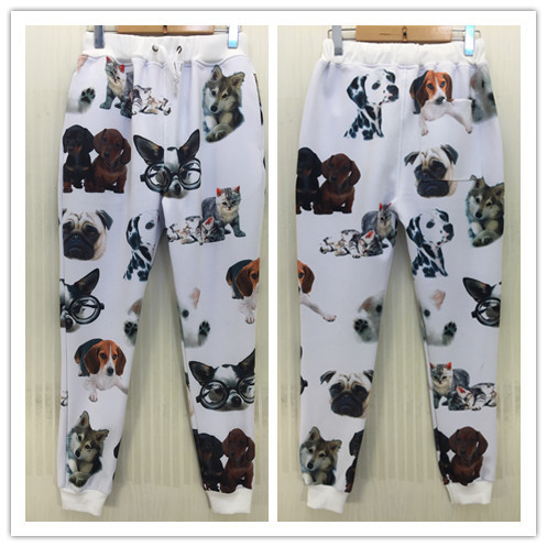 Lovely Cat Glasses Dog Print Sport Joggers 2014 New Fashion Hot Sale 3D High Quality Pants With Pocket Casual Sportwear ClothesОдежда и ак�е��уары<br><br><br>Aliexpress