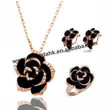100sets/lot 1223-165 Fashion Black Jewelry Sets Black Rose Flower Necklace/Earrings/Rings Austrian Crystal Flower Sets(China (Mainland))