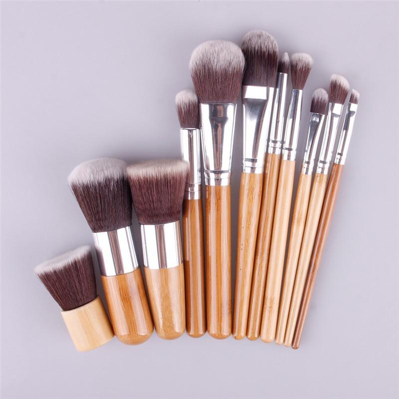 11 Pcs Makeup Brushes Professional Bamboo Wood Fiber Brush Makeup Brushes Set Make Up Tools Eyebrow Eyeliner Powder Brushes Set(China (Mainland))