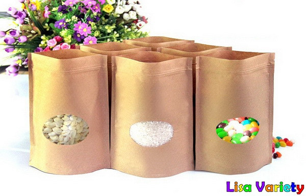 Free Shipping Kraft Paper Self-Stand Self-Sealing Food Packaging Bags With Visual Circle Window,17*24+4cm,50pcs/lot