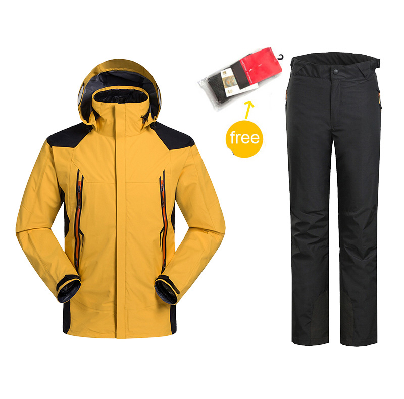 men 2in1 winter waterproof windproof hiking camping outdoor suit jacket pants ski suit coat clothes cotton outerwear snowboard<br>