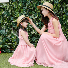2016 mother daughter dresses girls women summer maxi dress silk family matching clothes family look mom and daughter dress