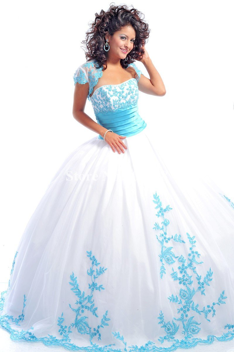 Blue And White Ball Gowns Blue Appliques Ball Gown