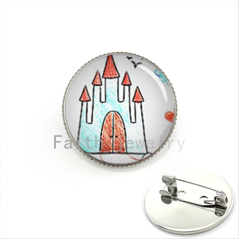 Custom Brooch of Your Children's Drawings, Paintings or Computer Art Work WITH EXPRESS SHIPPING, Childrens art kids pin KC300(China (Mainland))