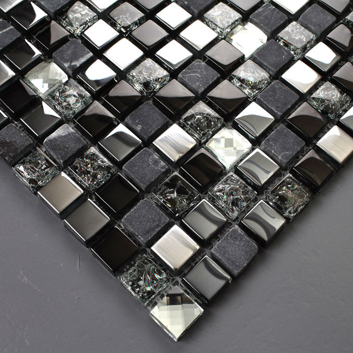 Le Gl Tile Backsplash Stainless Steel And Stone Mosaic