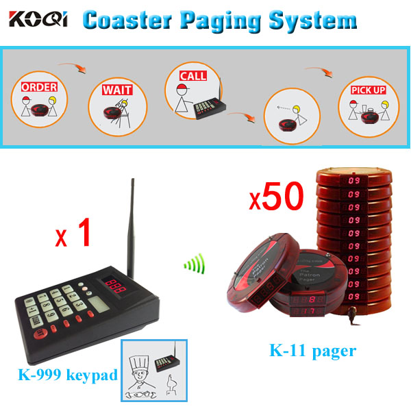 Wireless coaster patron pager with 50 receivers, for coffee shop Restaurant club Service Equipment Guest paging system pagers(China (Mainland))