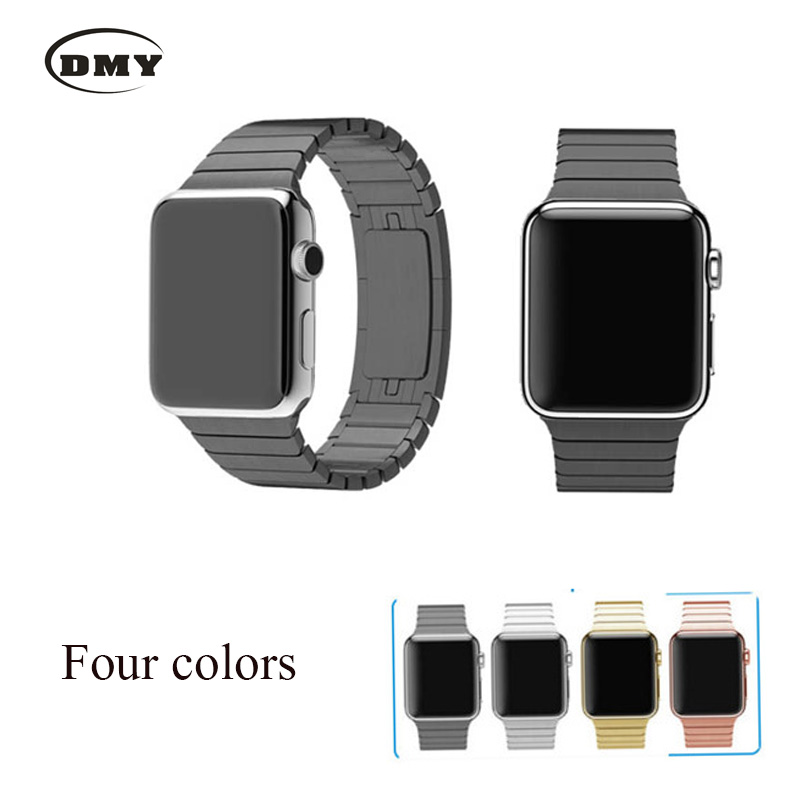 Nice 316L link bracelet stainless steel band for apple watch strap 42mm 38mm with butterfly clasp space black silver gold(China (Mainland))